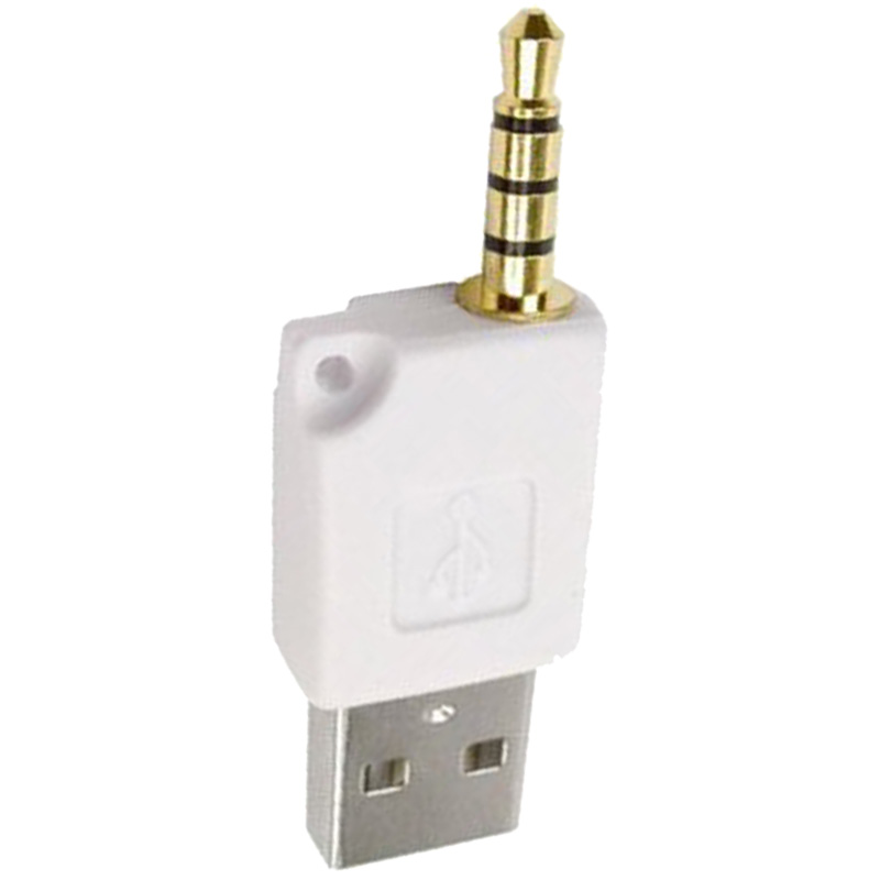 White USB 2.0 Male to 3.5mm Male Data Sync Charger Adapter Connector for iPod Shuffle 2nd 3rd