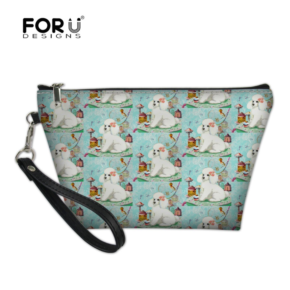 FORUDESIGNS 2018 White Poodle Printing Women Make Up Bag Necessarie Travel Organizer For Cosmetics Bag Mini Printing Vanity Case
