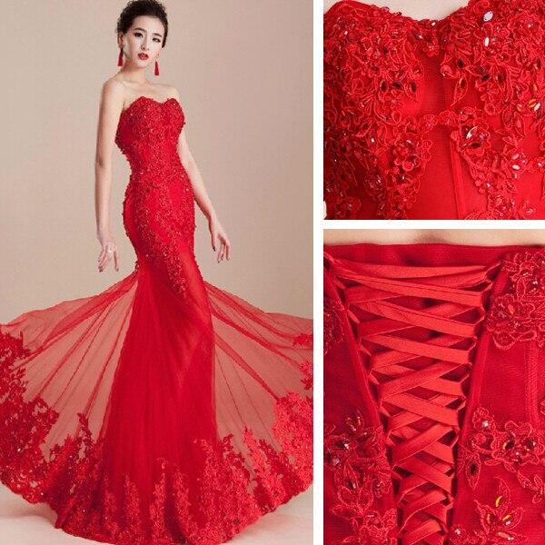 Mujeres 2016 vestido rojo de la boda vestido de noiva mermaid fishtail estilo oriental con cordones