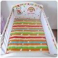 Promoção! 5 pcs infantil newborn crib bedding set lençóis de cama 100% lençóis de algodão do bebê dos desenhos animados crianças berço, inclui :( bumper + ficha)