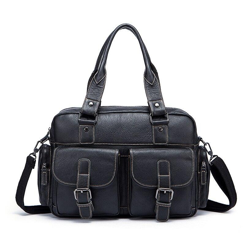 Fashion Designer handbags high quality genuine leather retro soft surface black and coffee business soft handle men's bag