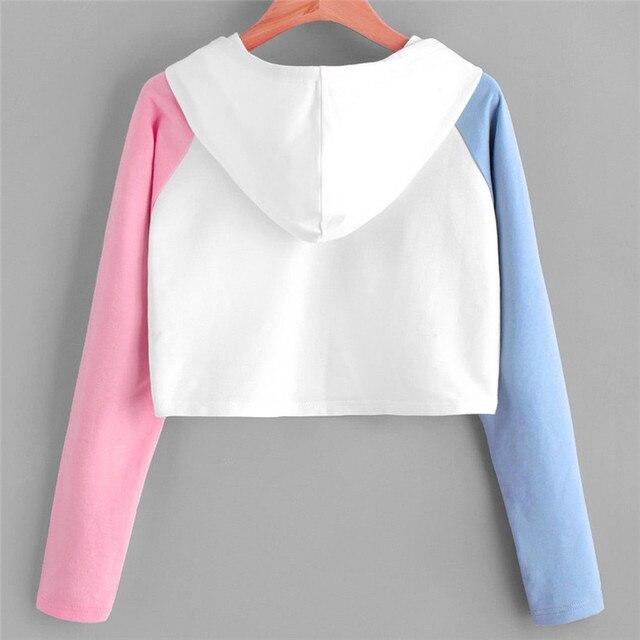 Women Hoodies Sweatshirts Girls Pink Blue Sleeve Crop Top Short Blouse Pullover Hoodie Sweatshirt 0912