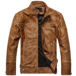 Image 3 - 新ブランドオートバイの革のジャケット男性のレザージャケット jaqueta デ couro masculina メンズ革コート
