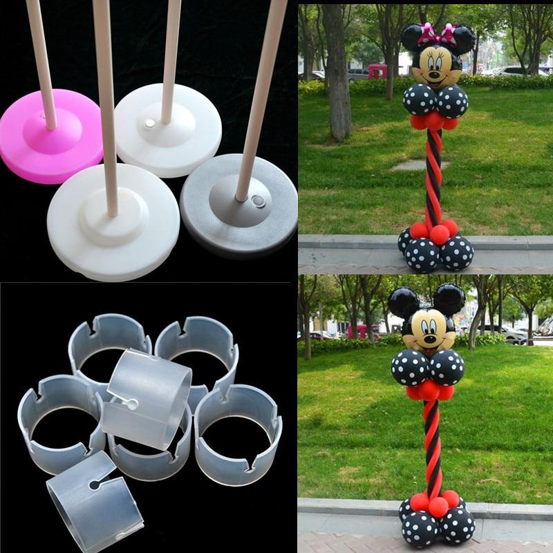 2 Set 150cm Ballonkolom voet / stok / plastic palen +15 clips Ballonboog Bruiloft decoratie feestartikelen Tuindecoratie