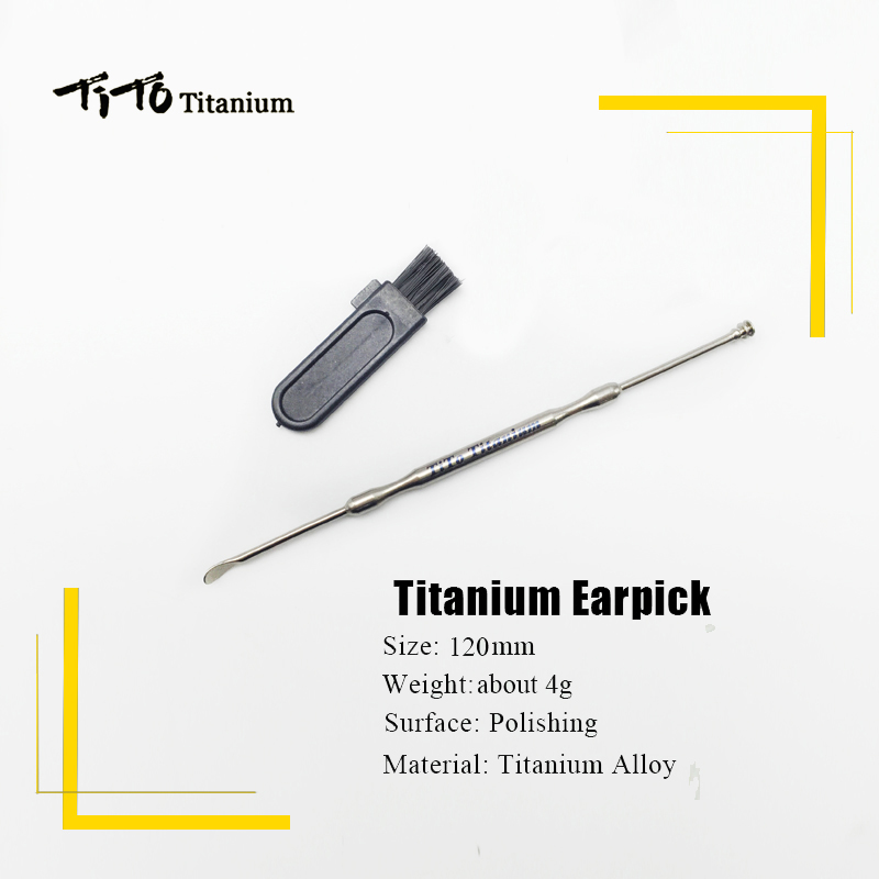 TiTo titanium double-end ear cleaning tools titanium dig earwax spoon fine polishing.Never rust no corrosion 120mm