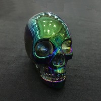 2inch Halloween decoration elecroplate natural quartz crystal stone crystal skull carved ornaments