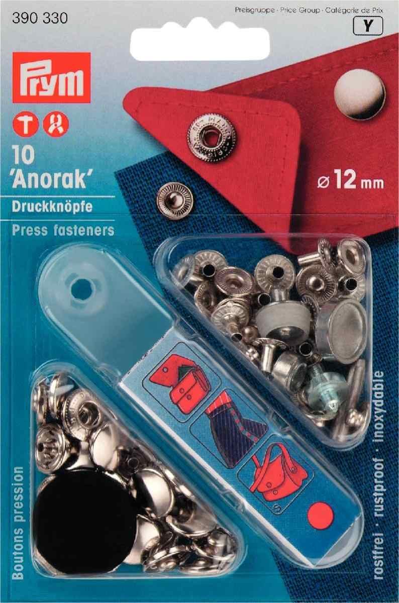 10 pieces by PRYM PRYM 390330 Press fasteners Anorak Size 12mm silver-coloured