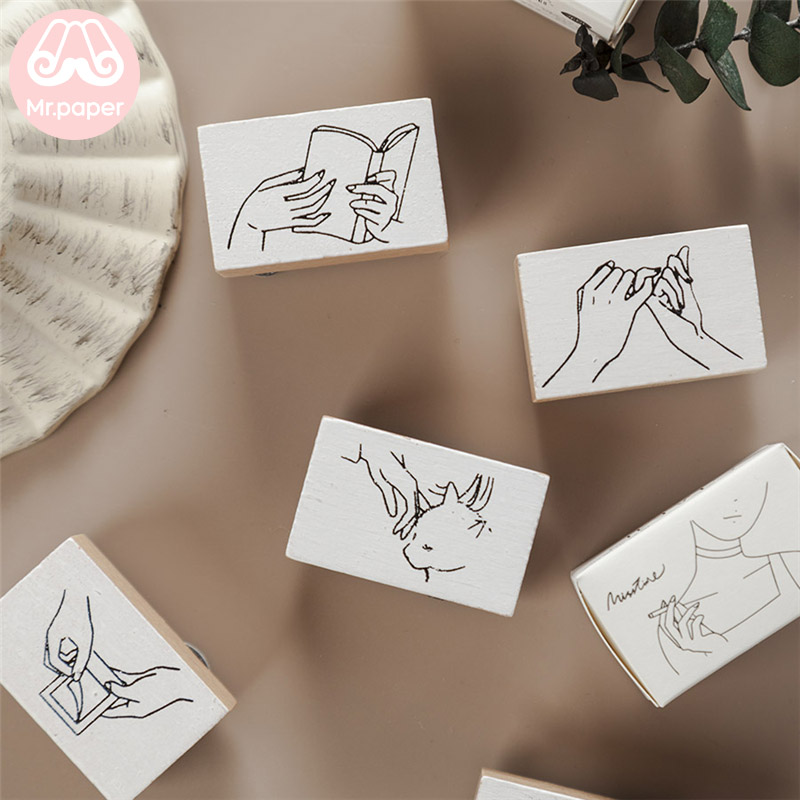 Mr Paper 15 Designs Minimalist Style Sketch Wooden Rubber Stamps For Scrapbooking Decoration DIY Craft Standard Wooden Stamps