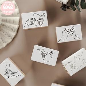 Mr Paper 15 Designs Minimalist Style Sketch Wooden Rubber Stamps for Scrapbooking Decoration DIY Craft Standard Wooden Stamps