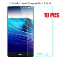 10 PCS 5.5 polegada Umidigi Cristal Vidro Temperado 100% Alta Qualidade prémio 2.5D 9 H Filme Protetor de Tela Para Umi Telefone Cristal 4G