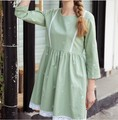 maternity spring and summer embroidery lace cotton round collar sleeve bigger sizes pregnant women dress