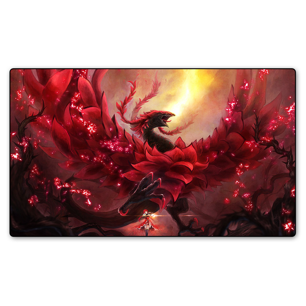 Magic game red rose dragon playmat board games playmat table cloth pad playmat mtg cards - Magic the gathering game table ...
