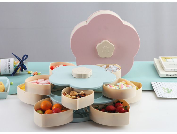 Creative Double-layer Rotary Bloom Snack Box