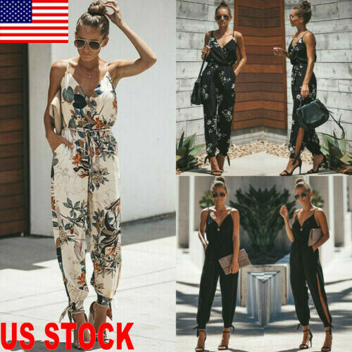 Hot Women Fashion Sleeveless Loose Baggy Bandage Trousers Overalls Pants Solid Romper Jumpsuit 2019 New