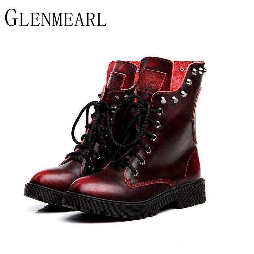 2019 echt leer vrouwen laarzen herfst winter warm nieuw merk klinknagels mode platform rood zwart mid-kalf laarzen vrouwen schoenen zk15