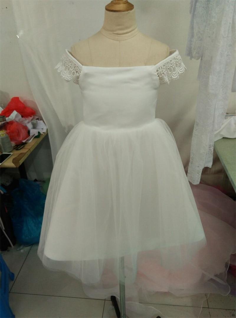 New Real Flower Girl Dresses for Wedding White/Ivory/Pink Communion Party Pageant Dress Little Girls Kids/Children Dress