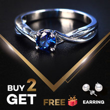 PANSYSEN Fashion 100% Real Sapphire Silver 925 Ring Women's 5mm Round Gemstone Engagement Ring Fine Jewelry Ringen Drop Shipping(China)