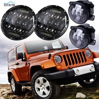 Lot 4pcs Include 2x7inch 75W High Quality DRL Headlamp 2x4inch 30W Offroad Driving Auxiliary Fog Light