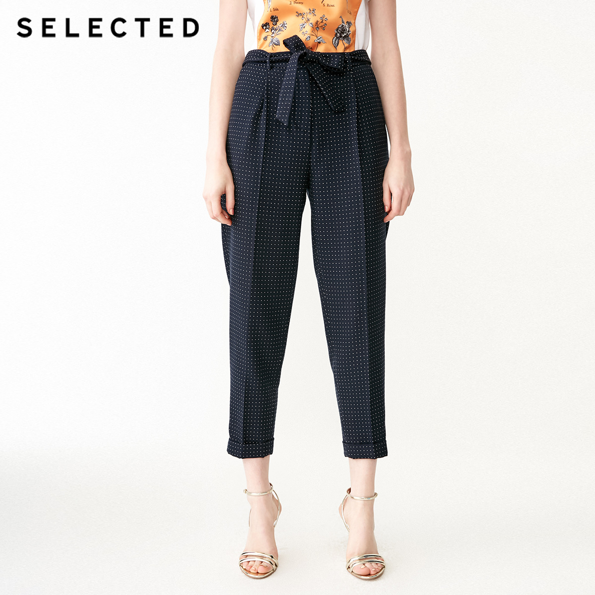 SELECTED Women's Spring Polka Dots Business-casual Crop Suit Pants SIG 419118506