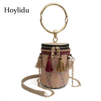 Fashion Women Shoulder Bags Mini Portable Bucket Tassel Rattan Handmade Woven Straw Handbags Ladies Travel Casual Crossbody Bag