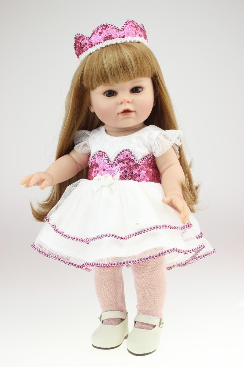 Penuh Vinyl 18 Inch Gadis Amerika Boneka Lucu Boneka Mainan Buatan Tangan  Putri Boneka untuk Anak a09cb2ecc3