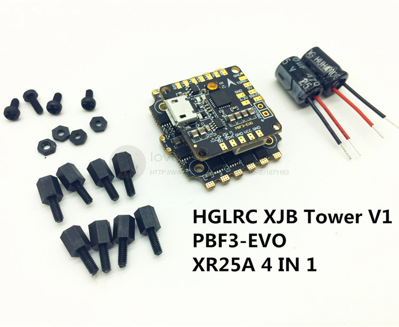 HGLRC XJB V1 Flying Tower F3 evo + 4IN1 XR25A ESC Indoor Micro Flight Control PBF3 EVO Mini Flight Control