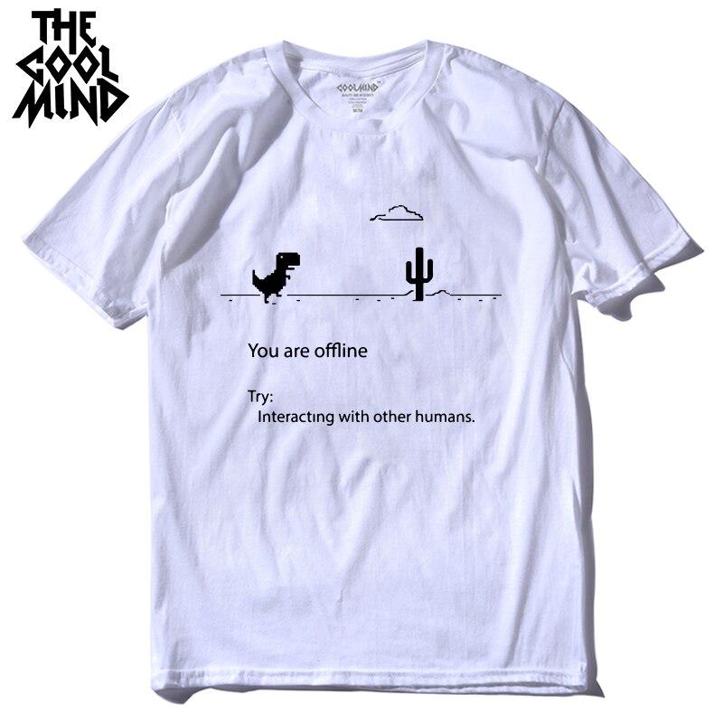 COOLMIND 100% cotton men dino tshirt male summer loose funny t-shirt tee shirt men you are off line print dinosaur t shirt