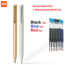 Original Xiaomi Mijia Metal Sign Pen MI Pen 0.5mm Signing Pen Smooth Switzerland Refill Metal Case + Replacement Refill Ink Blue
