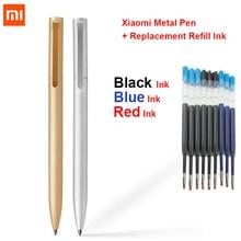 Original xiao mi jia sinal de metal caneta mi caneta 0.5mm assinatura caneta suave suíça recarga caixa de metal + substituição recarga tinta azul