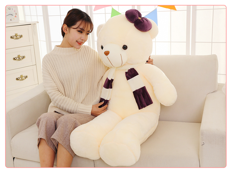 stuffed-plush-toy-large-120cm-white-teddy-bear-plush-toy-purple-scarf-bear-doll-soft-hugging-pillow-christmas-gift-b1258
