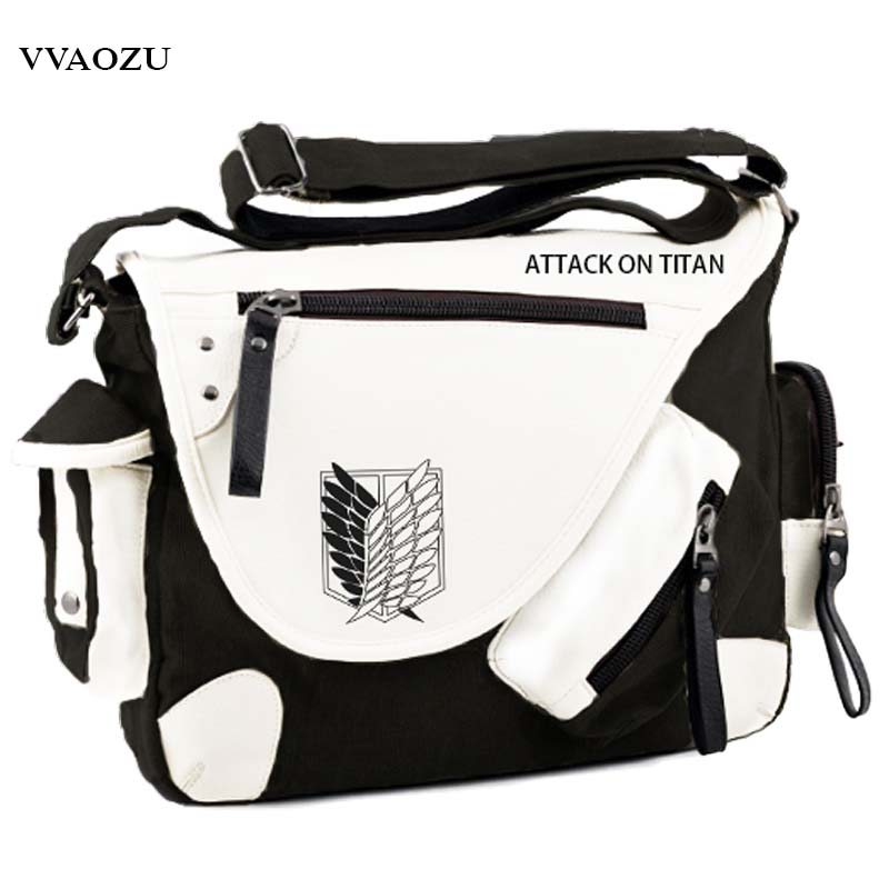 Hot Japan Anime Attack on Titan Messenger Bags Shingeki no Kyojin Aren Survey Corps Wings of Liberty Canvas Satchel Shoulder Bag ecopartyattack on titan sling pack school bags messenger bag travel male men s bag anime shingeki no kyojin shoulder bag