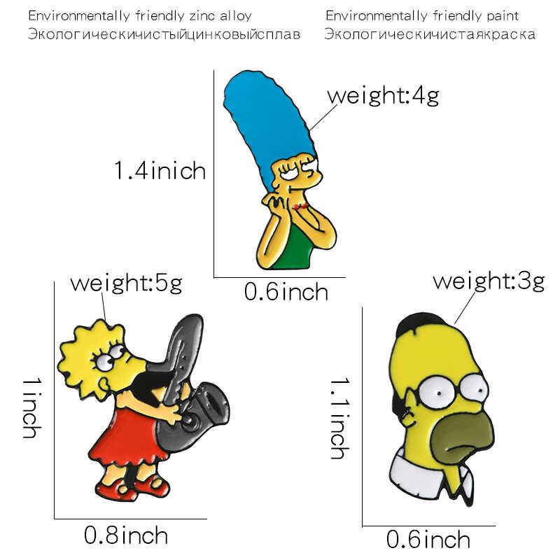 The Simpsons Koleksi! Tn. Burns Lisa Homer Jay Marge Kirk X-File FBI Fox Mulder Troll Boneka Flip Enamel Bros Pin