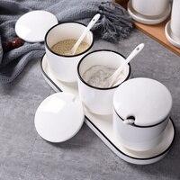 Creative oil salt cans kitchen supplies ceramic seasoning jar 3 piece set home spice box set seasoning tank wx9051606