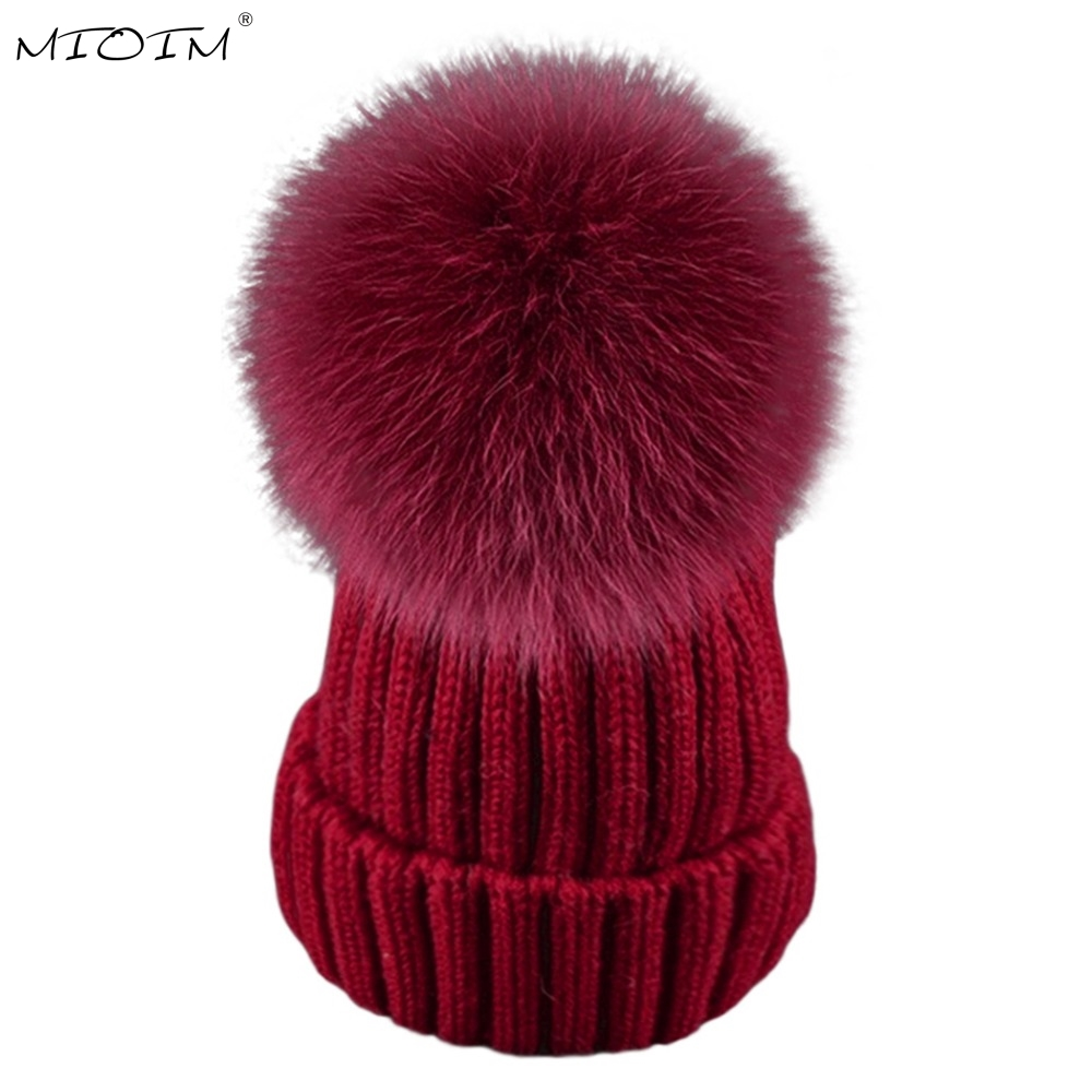 MIOIM Winter Baby Knit Hat Boys Girls Fur Pompom Hats Wool Caps Kids Beanies Baby Skullies Unisex Children Cap Bonnet Hat 3 laurashow winter kids hats beanies caps knit hat baby girls boys raccoon mink fur pom poms wool
