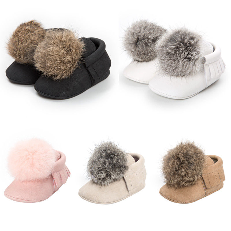 Cute Newborn Baby Girls Shoes Princess Kids Toddler Fur Ball Soft Sneaker Crib Tassel Moccasin Shoes 0-18M