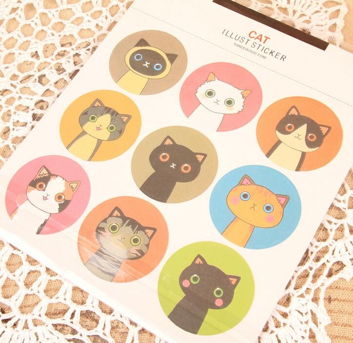 9Pcs/Lot New In Box cute cat paper sticker post it decoration decal diy album scrapbooking sealing kawaii stationery gift K7397