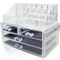 Cosmetic Container Makeup Organizer Storage Box Bins Women Girls Make up Case Acrylic Bedroom Jewelry Display Holder