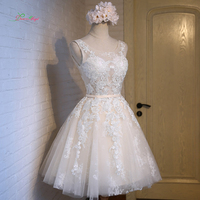 Dream Angel Elegant Scoop Neck Knee Length Homecoming Dresses 2018 Appliques Lace Short Vintage Special Occasion Dress For Party