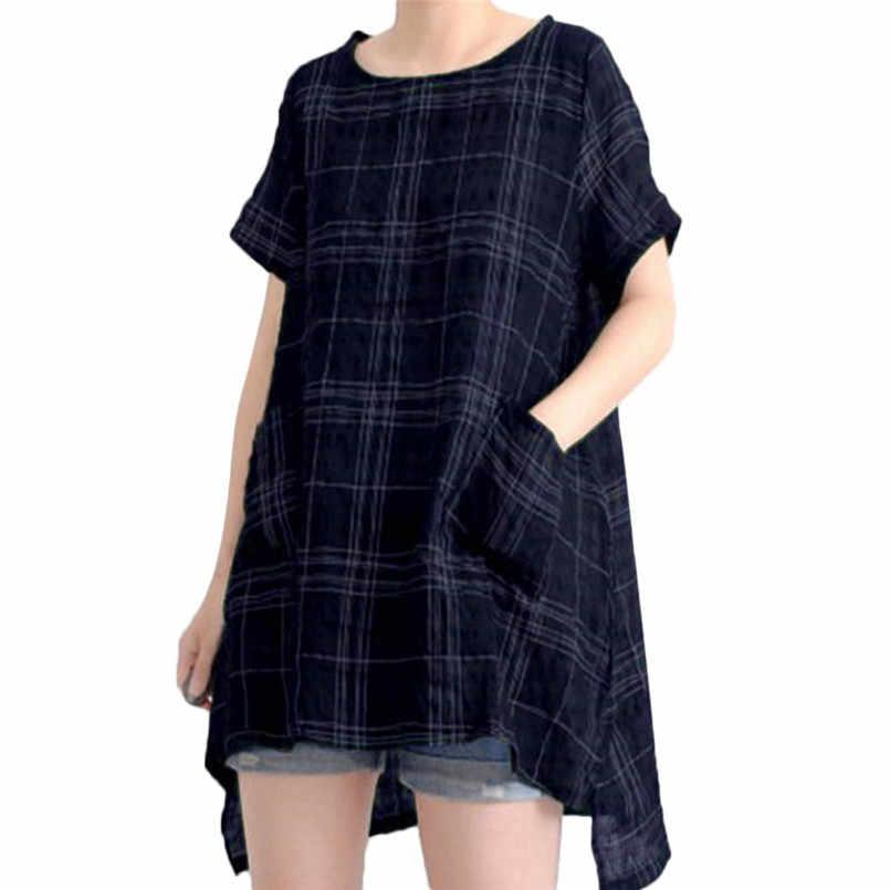 Dropship Women Tops 빈티지 캐주얼 루즈 코튼 린넨 박쥐 윙 슬리브 체크 무늬 티셔츠 사이즈 S-4XL #0730