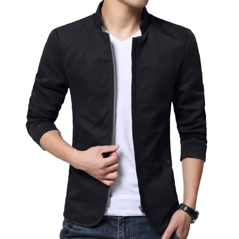 Autumn Cotton Jacket Men Slim Casual Baseball Jackets For Men Stand Collar With Zipper Coat Homme Fashion Men Clothing M-5XL