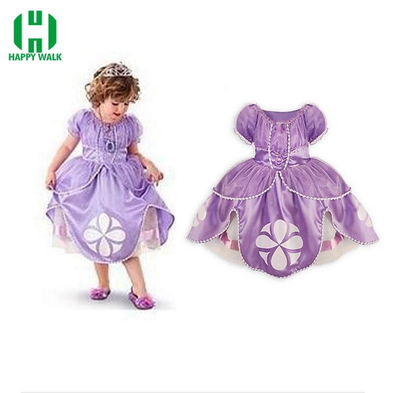 Princess Sofia Dress Costume Girl Dress Sofia Princess Purple Fluffy Dress Big Petals Princess Sophia Free Shipping Girl Dress