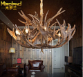 American style home decoration loft dining room Antler chandeliers vintage hemp ropeiron living room light  free shipping