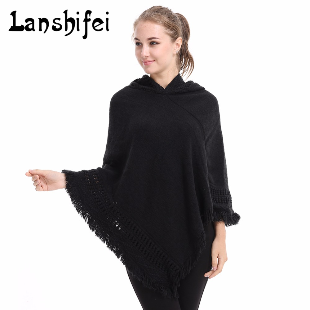 Women Poncho Scarf Cashmere Wool Autumn Warm Winter Hoodies Scarf Casual Loose Knitted Hooded Solid Tassel Women Shawls Wraps