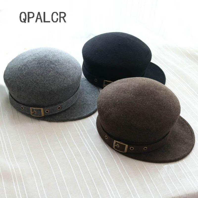 d3f56664a49 QPALCR High Quality Wool Felt Hat Equestrian Knight Wool Fedoras For Women  Men Cap Fashion Belt