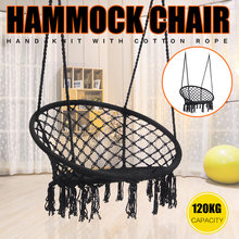 Nordic Style Round Hammock Handmade Knitted Swing Chair for Outdoor Indoor Dormitory Bedroom Swing Bed with Install Tools(China)