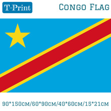 Free shipping 90*150cm/60*90cm/40*60cm/15*21cm Congo-Kinshasa Flag Democratic Republic of the Congo Banner