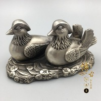 China's rare miao silver mandarin duck statue wedding gift metal crafts home decoration