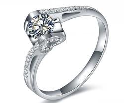 Anioł pocałunek styl Micro Pave 0.6CT piękny diament obrączka czyste srebro Fine Jewelry białe złoto pokrywa ostatnie całe życie