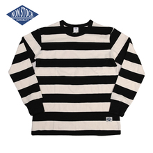 NON STOCK Prison Striped Long Sleeve Tee Shirts Slim Fit Mens Motorcycle T-Shirt ruffle sleeve striped tee