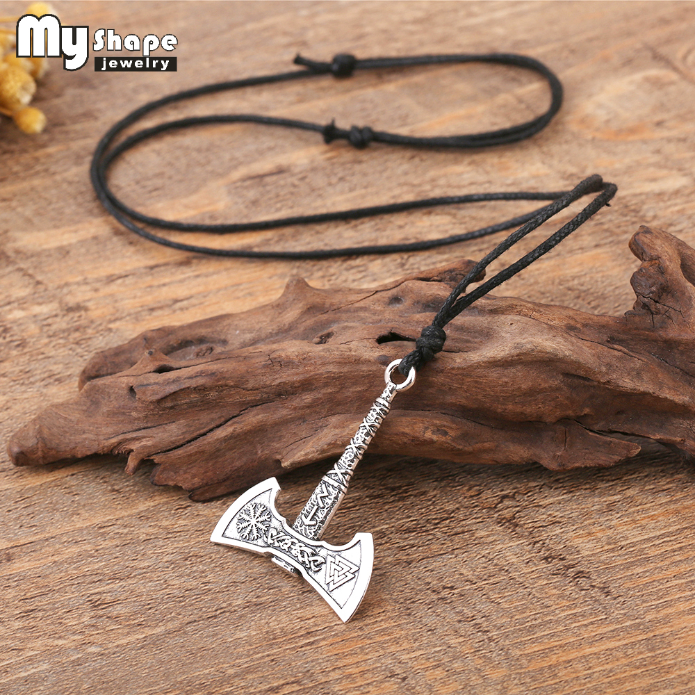 My shape Nordic Vikings Necklace The Fehu Feoh Fe Rune Axe Amulet compass viking runes pendant Scandinavian Necklace